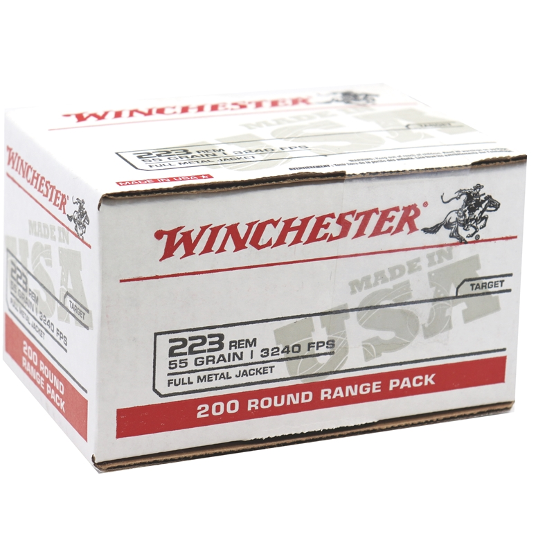 Winchester USA 223 Remington Ammo 55 Grain FMJ 200 Rounds Value Pack