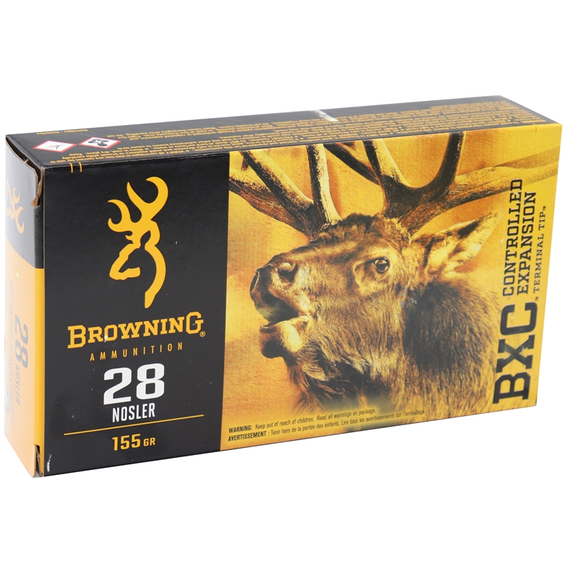 Browning BXC Controlled Expansion 28 Nosler Ammo 155 Grain Terminal Tip