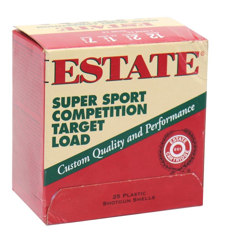 """Estate Cartridge Super Sport 12 Gauge Ammo 2 3/4"""" 1 1/8oz #7.5 Shot Competition Target Loads 250 Rounds"""