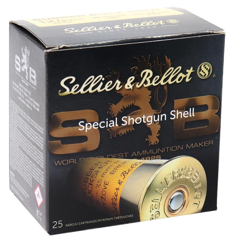 "Sellier & Bellot 12 Gauge Ammo 2-5/8"" 15.0 mm 2 Rubber Spherical Balls 250 Round Case"