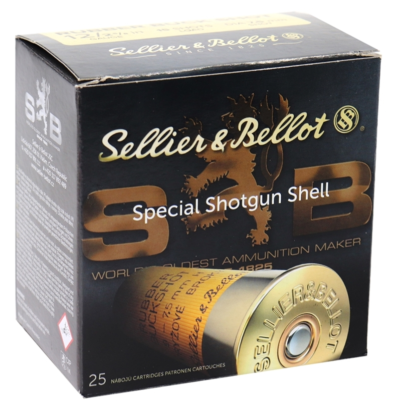 """Sellier & Bellot 12 Gauge Ammo 2-5/8"""" 17.5mm Rubber Slug 250 Round Case"""