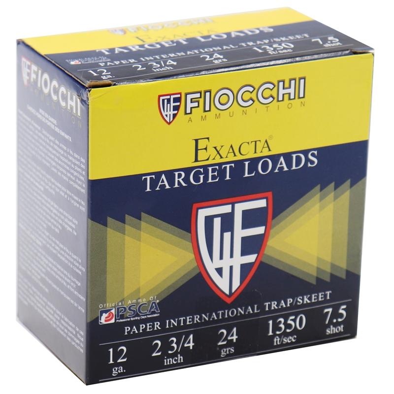 "Fiocchi Exacta Target Paper 12 Gauge Ammo 2-3/4"" 24 GM #7.5 Shot 250 Rounds"