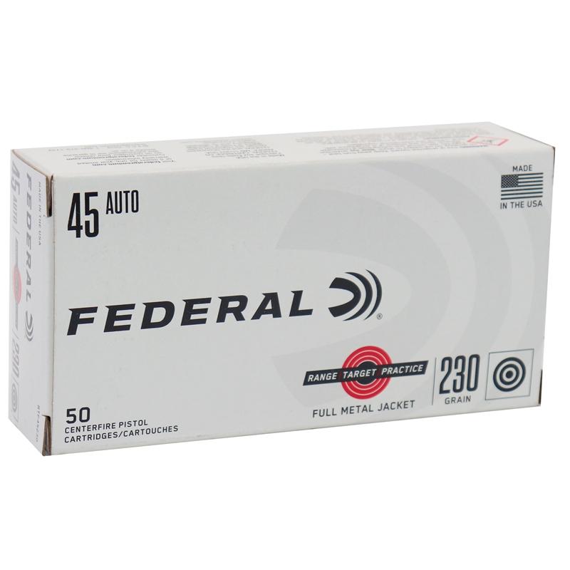 Federal Range Target Practice 45 ACP Ammo 230 Grain Full Metal Jacket