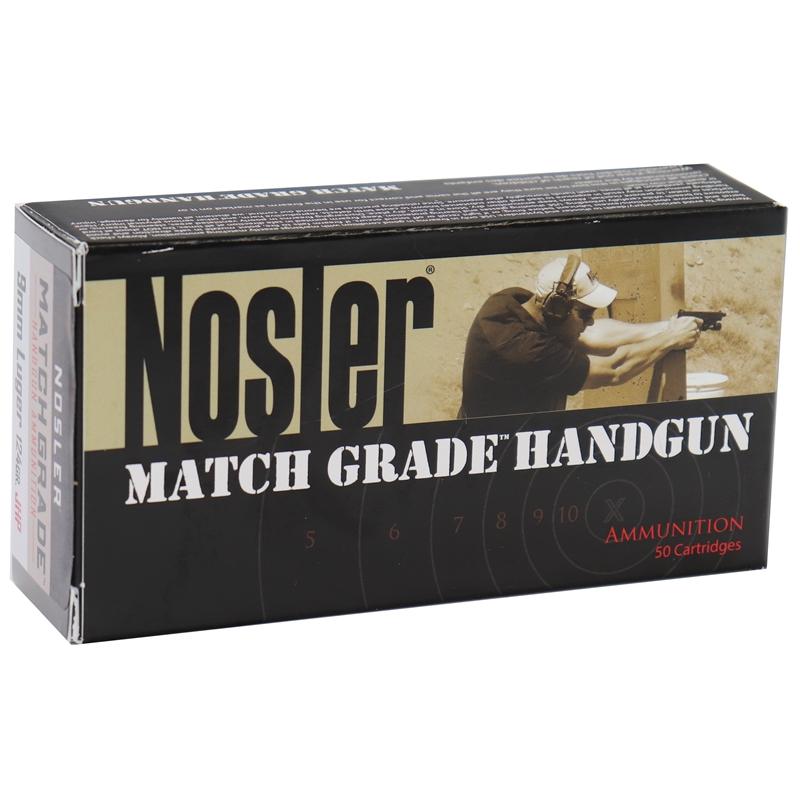 Nosler Match Grade 9mm Luger Ammo 24 Grain Jacketed Hollow Point
