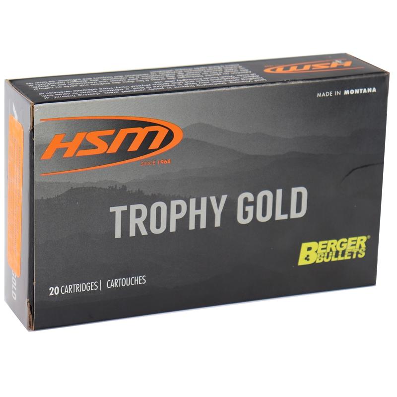 HSM Trophy Gold 7mm Remington Magnum Ammo 180 Grain Berger Hunting VLD Hollow Point BT