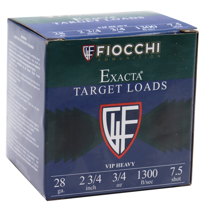"Fiocchi Exacta VIP Heavy 28 Gauge Ammo 2-3/4"" 3/4oz. #7.5 Lead Shot 250 Rounds"