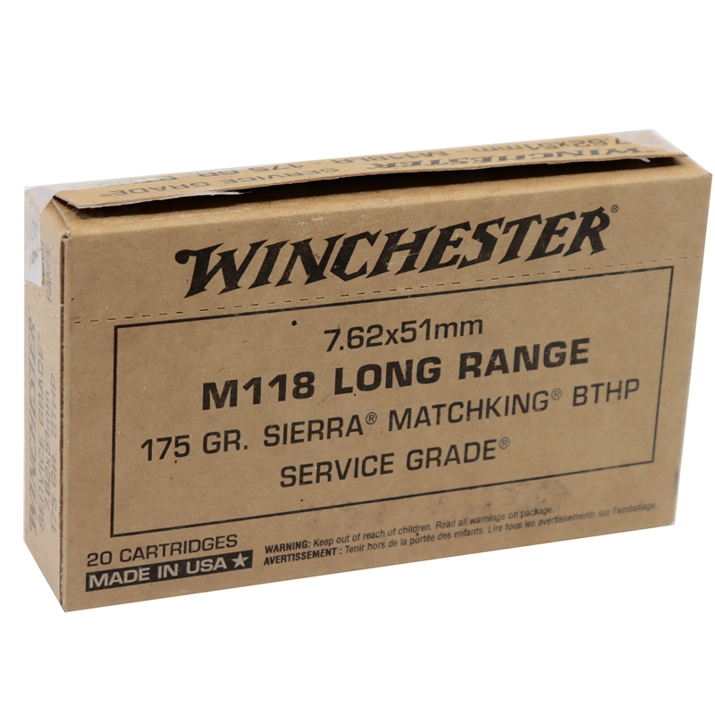 Winchester Service Grade 7.62x51mm NATO M118 Long Range Ammo 175 Grain HPBT MatchKing