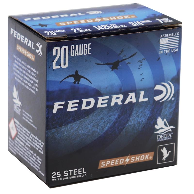 "Federal Speed-Shok 20 Gauge Ammo 2-3/4"" 3/4 oz #7 Steel 250 Rounds"