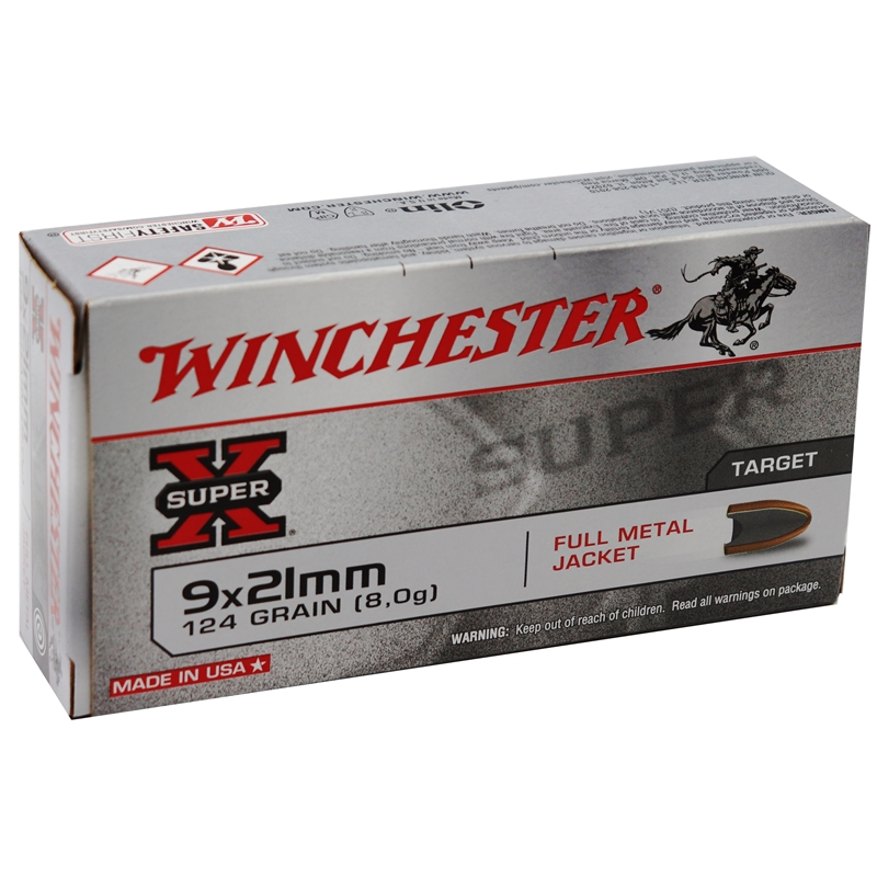 Winchester 9x21 IMI Ammo 124 Grain Full Metal Jacket