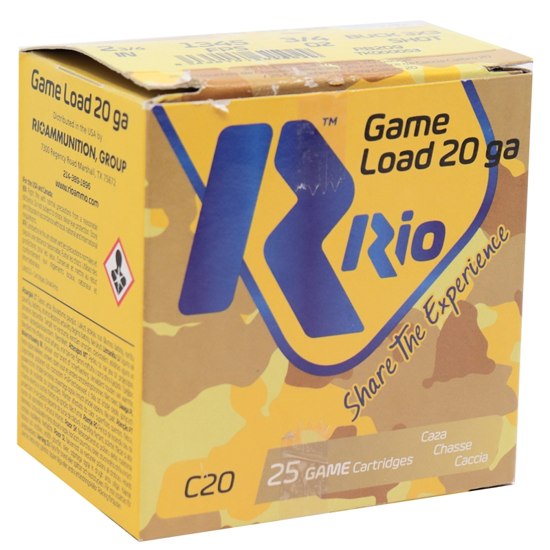 "Rio Game Load 20 Gauge Ammo 2-3/4"" 3/4 oz #9 Pellets Buck Shot 250 Rounds"