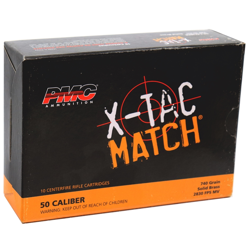 PMC X-Tac Match 50 BMG Ammo 740 Grain Solid Brass Projectile
