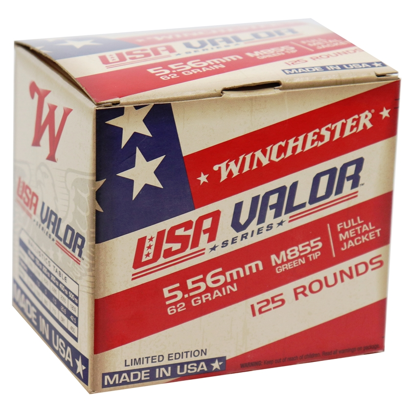 Winchester USA Valor 5.56x45mm NATO Ammo 62 Grain M855 FMJ Green Tip 125 Rounds Value Pack