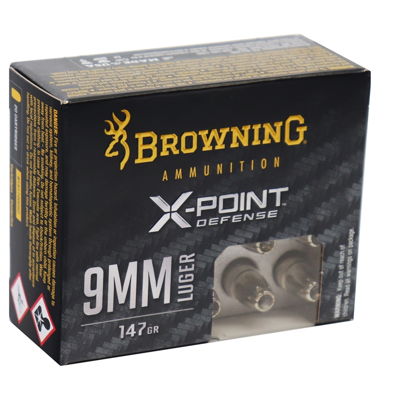 Browning X-Point Defense 9mm Luger Ammo 147 Grain Hollow Point
