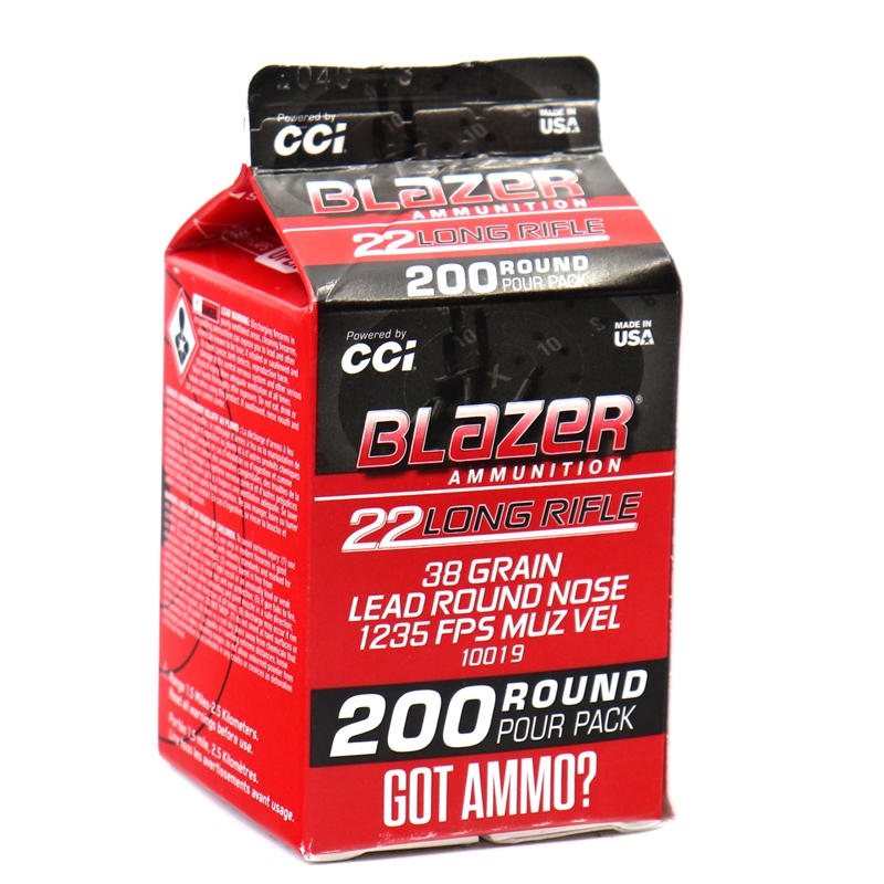 CCI Blazer 22 Long Rifle Ammo 38 Grain Lead Round Nose Pour Pack 200 Rounds