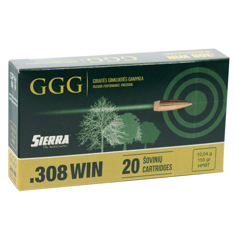 GGG 308Winchester Ammo 155 Grain Hollow Point Boat Tail