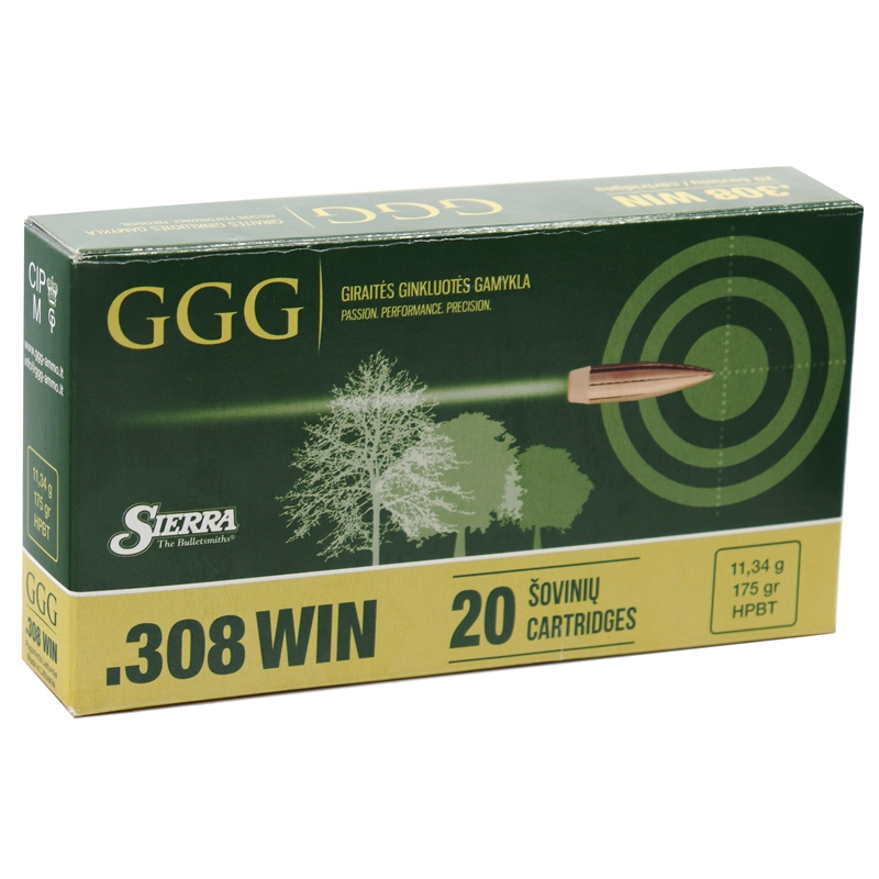 GGG 308 Winchester Ammo 175 Grain Hollow Point Boat Tail