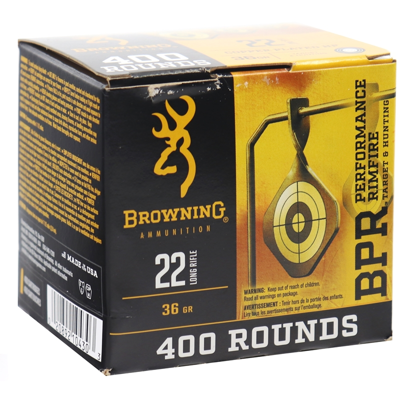 Browning BPR Performance 22 Long Rifle Ammo 36 Copper Plated Hollow Point