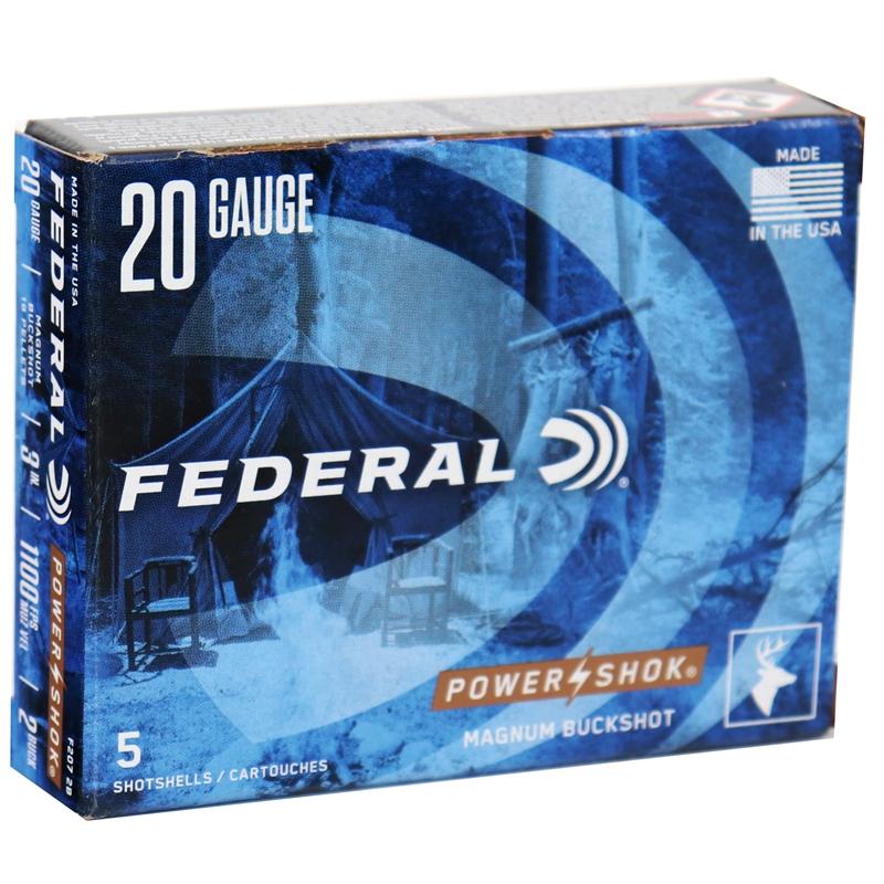 """Federal Power-Shok 20 Gauge Ammo 20 Gauge 3"""" Buffered #2 Buckshot 18 Pellets"""