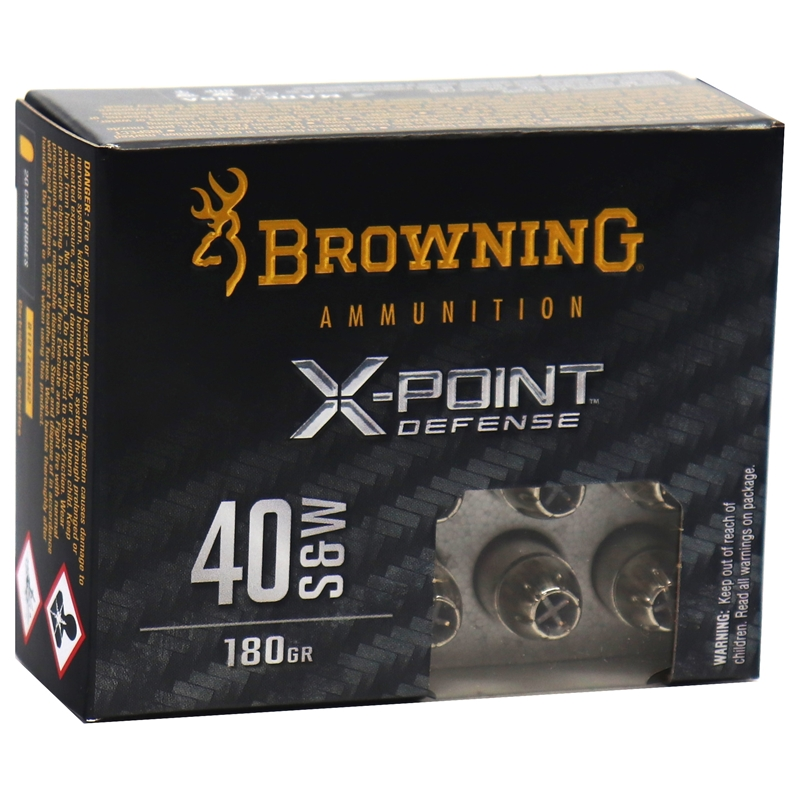 Browning X-Point Defense 40 S&W Ammo 180 Grain Hollow Point
