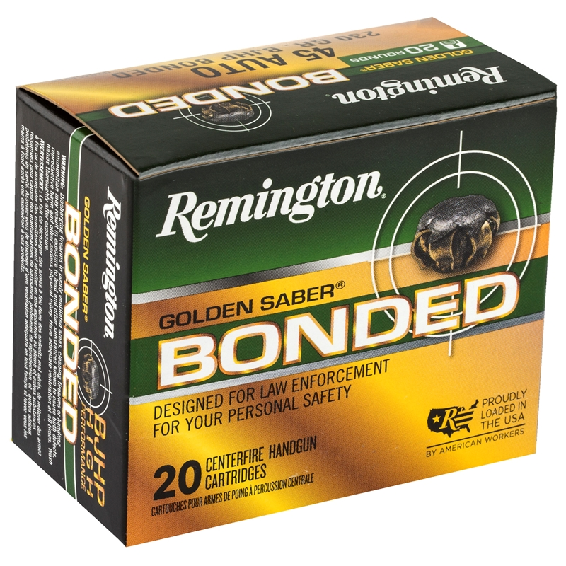 Remington Golden Saber 45 ACP AUTO Ammo 230 Grain Bonded Jacketed Hollow Point