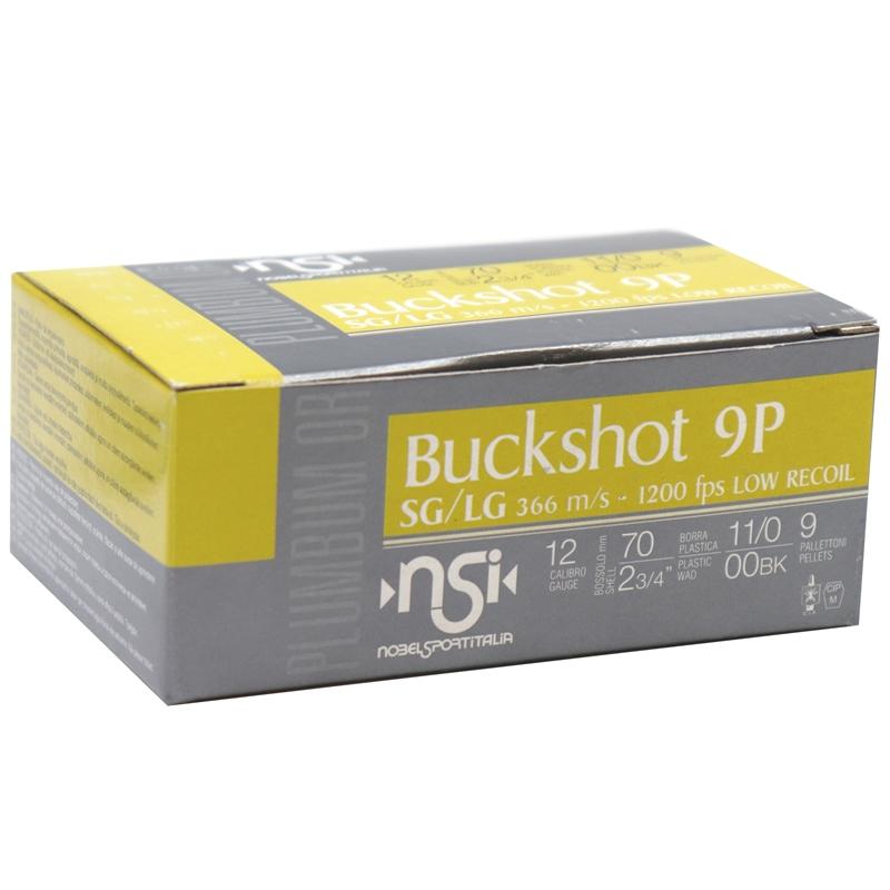 """Nobel Sport Buckshot 12 Gauge Ammo 2-3/4""""  00 Buck 9 Pellet Low Recoil"""