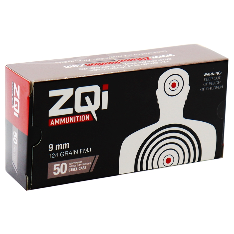 ZQI  9mm NATO Ammo 124 Grain Full Metal Jacket Steel Case