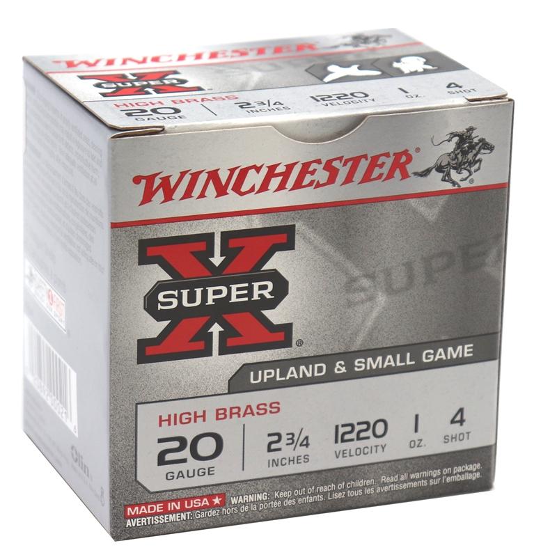 """Winchester Super-X 20 Gauge 2 3/4"""" 1oz. #4 Shot 250 Round Case"""