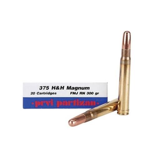 Prvi Partizan 375 H&H Magnum Ammo 300 Grain Full Metal Jacket