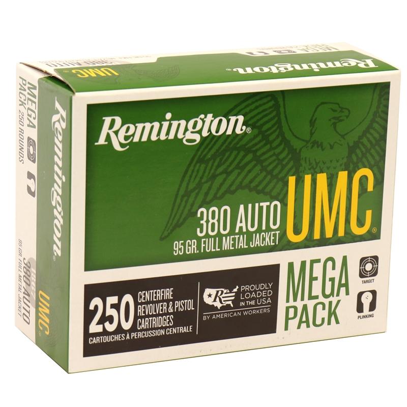 Remington UMC 380 ACP AUTO Ammo 95 Grain Full Metal Jacket Mega Pack