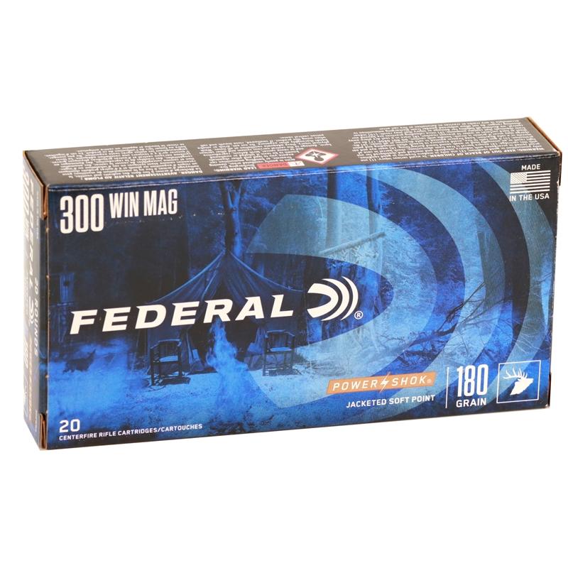Federal Power-Shock 300 Winchester Magnum 180 Grain Speer Hot-Cor Soft Point Ammunition