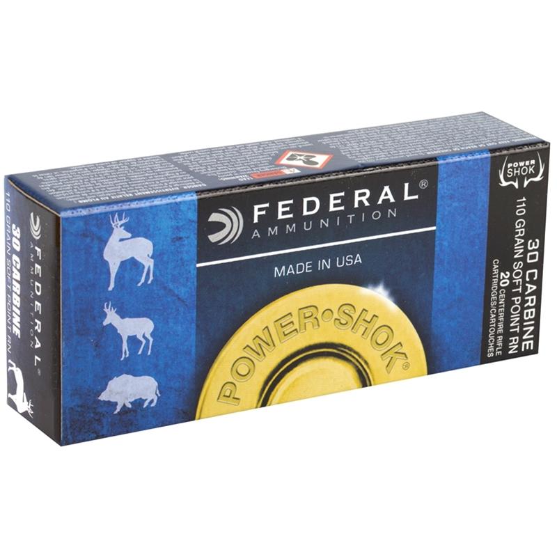 Federal Power-Shok 30 Carbine Ammo 110 Grain Round Nose SP