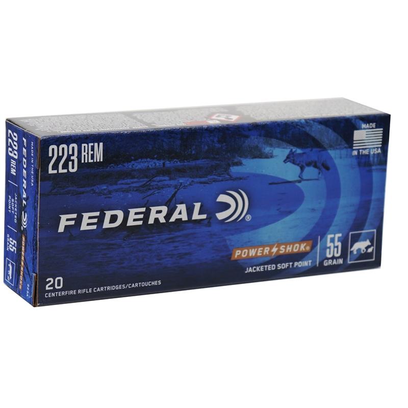 Federal Power-Shok 223 Remington Ammo 55 Grain SP
