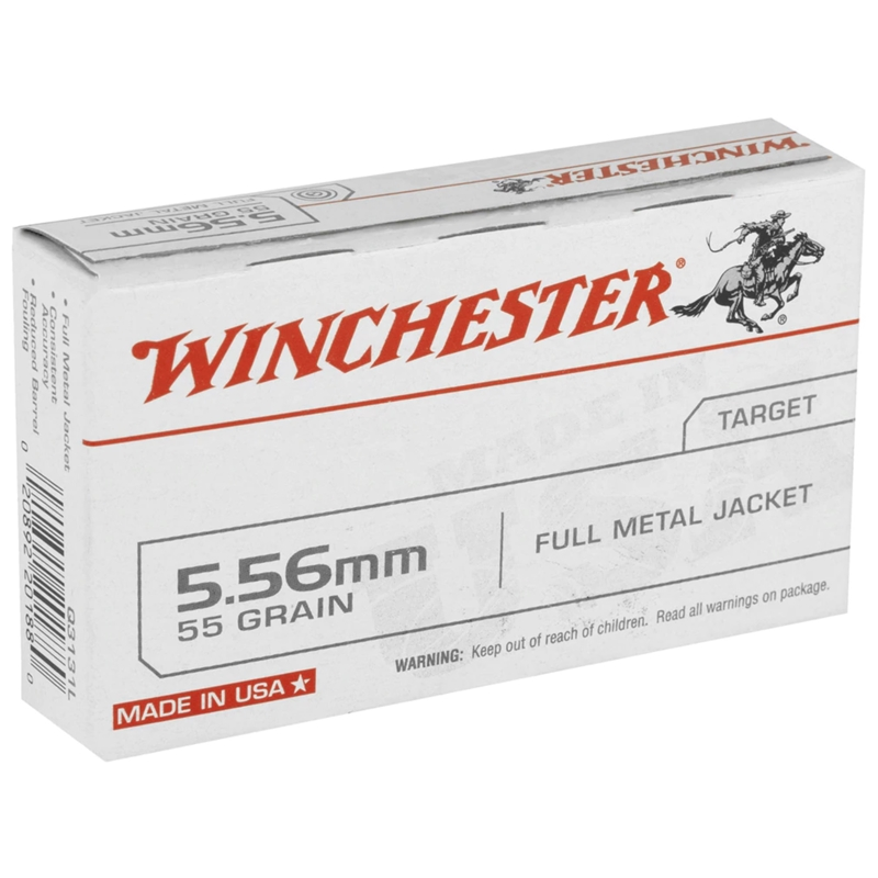 Winchester USA 5.56x45mm NATO Ammo 55 Grain Full Metal Jacket
