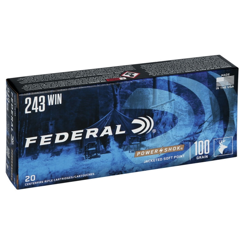 Federal Power-Shok 243 Winchester Ammo 100 Grain SP