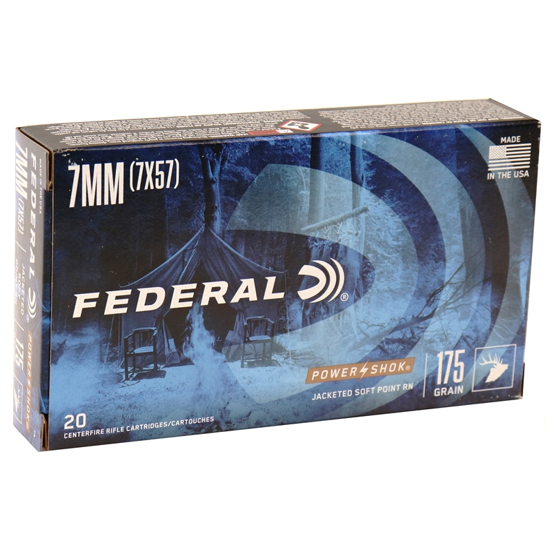 Federal Power-Shok 7x57mm Ammo 175 Grain Round Nose SP