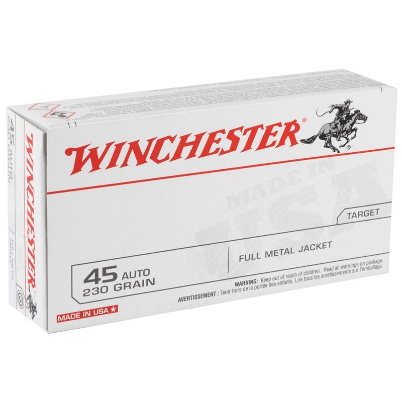 Winchester USA 45 ACP AUTO Ammo 230 Grain FMJ