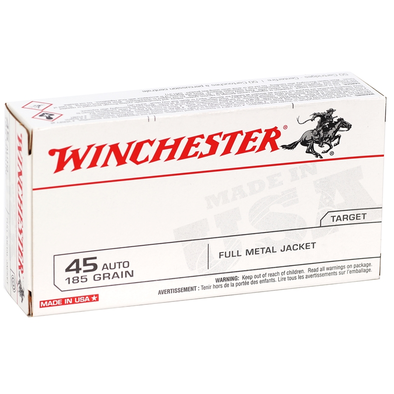 Winchester USA 45 ACP AUTO  Ammo 185 Grain Full Metal Jacket