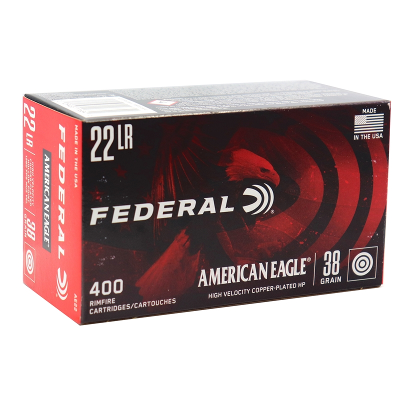 Federal American Eagle 22 Long Rifle Ammo 38 Grain PL HP
