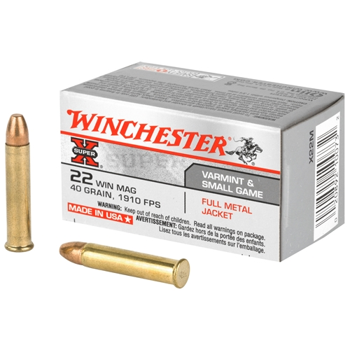 Winchester Super-X 22 WMR Ammo 40 Grain Full Metal Jacket