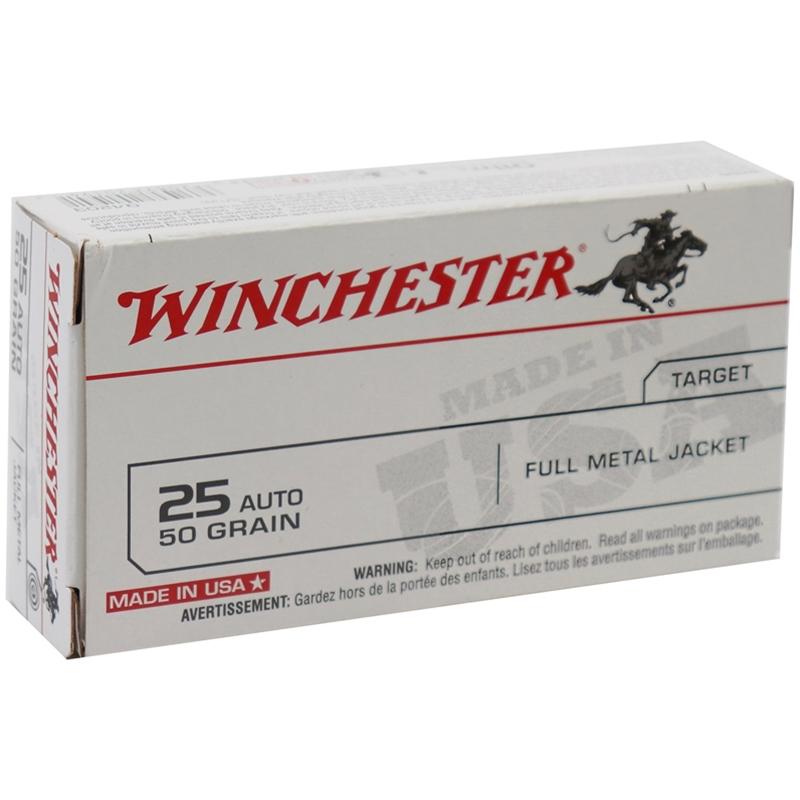 Winchester USA 25 ACP Auto 50 Grain Full Metal Jacket