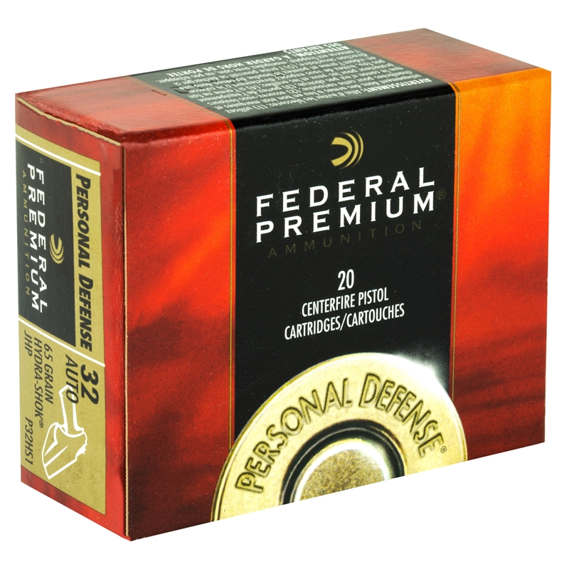 Federal Personal Defense 32 ACP Auto Ammo 65 Grain Hydra-Shok Jacketed  Hollow Point