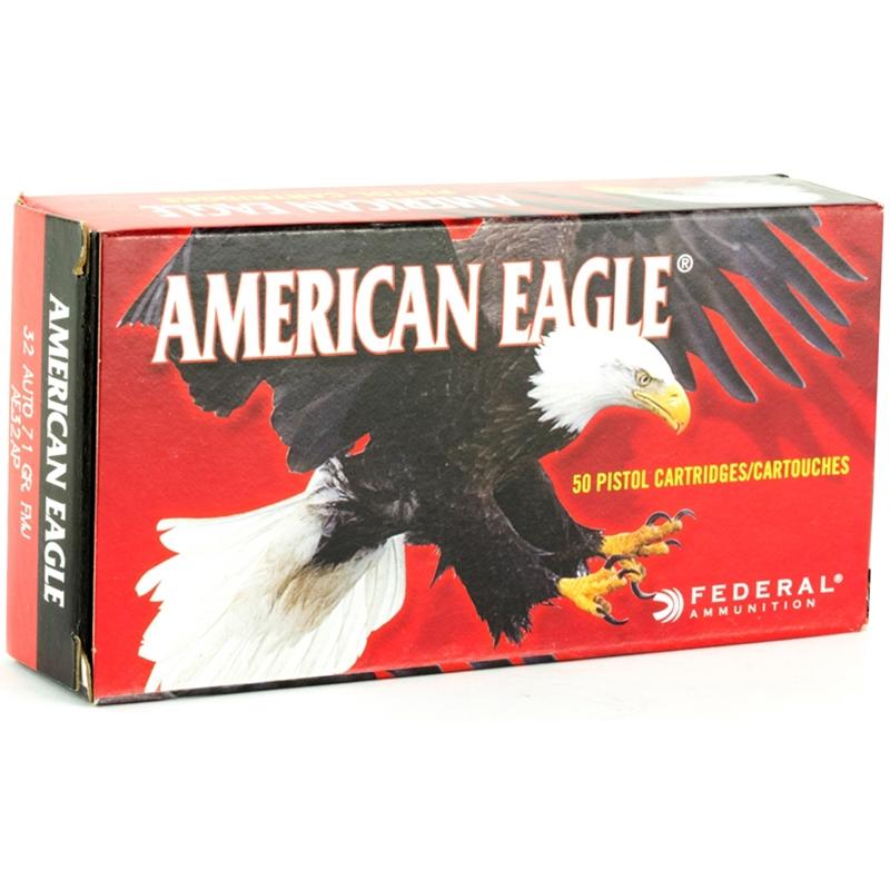 Federal American Eagle 32 ACP Auto Ammo 71 Grain FMJ