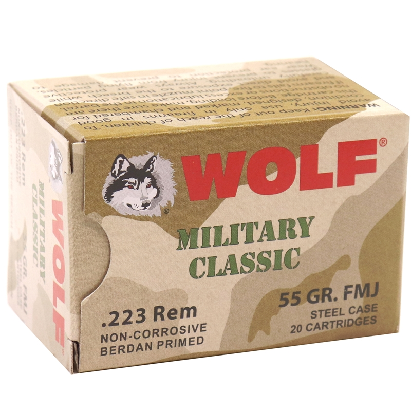 Wolf MC 223 Remington Ammo 55 Grain FMJ Steel Case