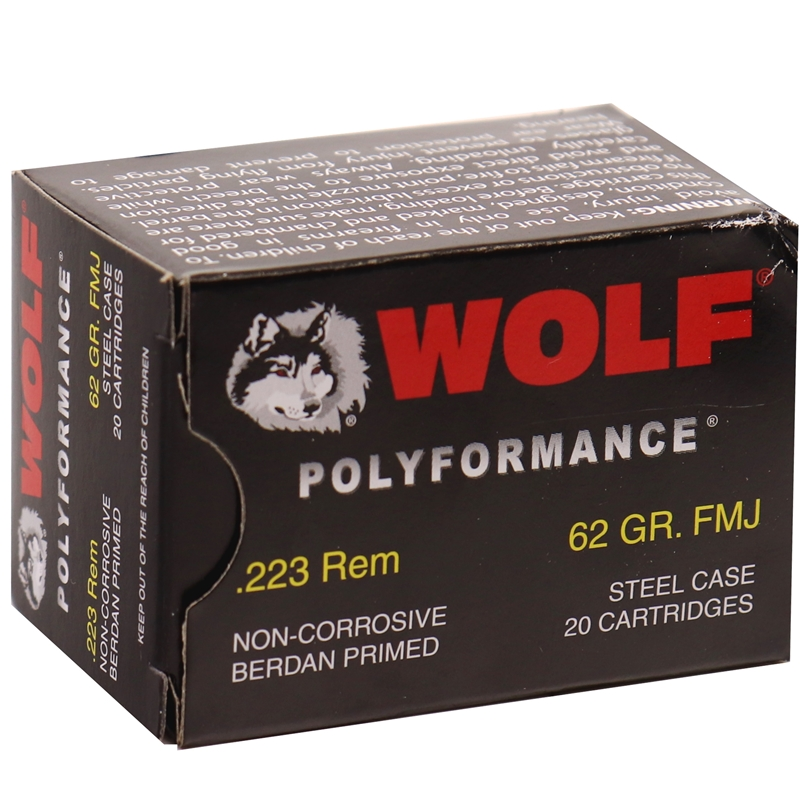 Wolf Polyformance 223 Remington Ammo 62 Gr FMJ Steel Case