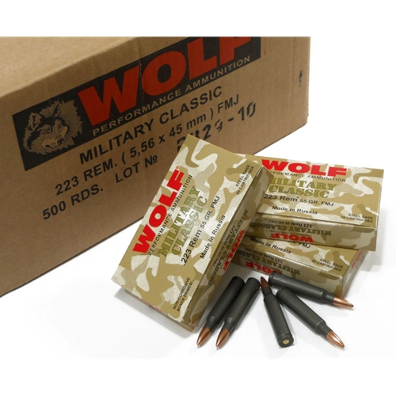 WoWolf MC 223 Remington Ammo 55 Gr FMJ Steel Case Bulk