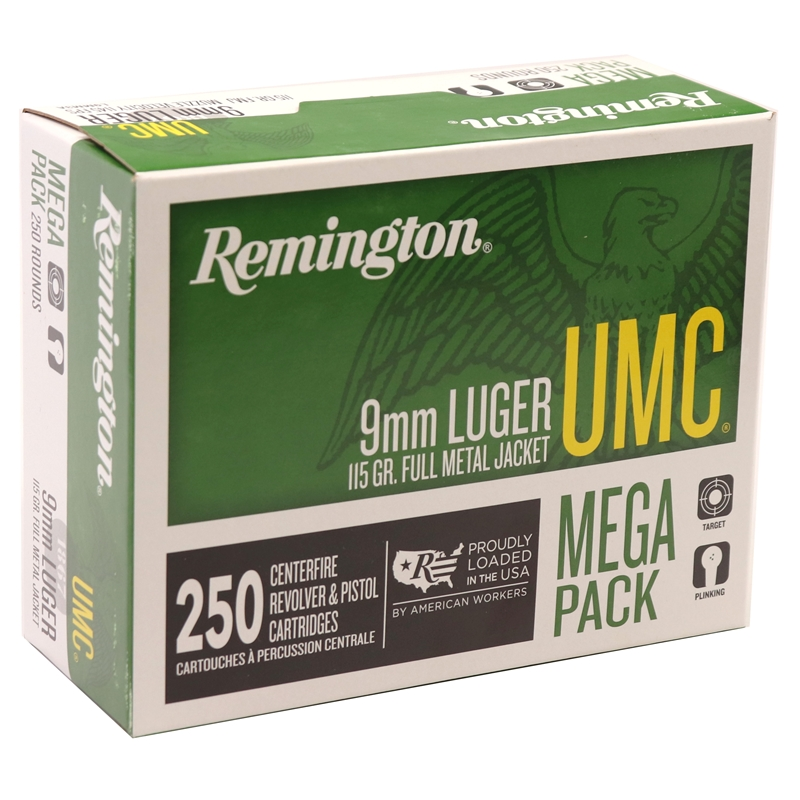 Remington UMC 9mm Luger Ammo 115 Grain FMJ Mega-Pack