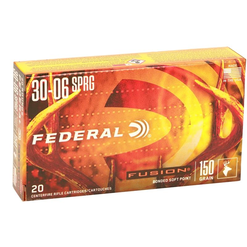 Federal Fusion 30-06 Springfield Ammo 150 Grain Spitzer BT