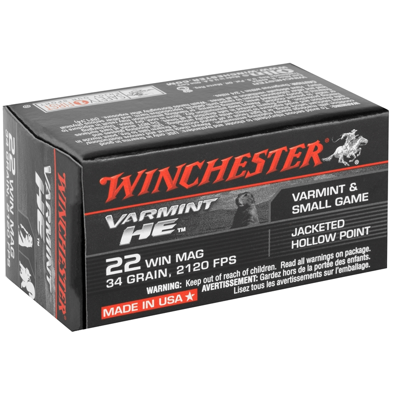 Winchester HE 22 WMR 34 Grain Jacketed Hollow Point