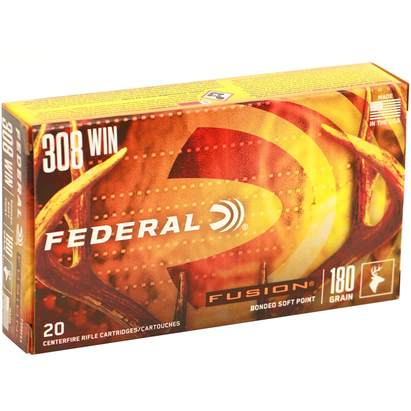 Federal Fusion 308 Winchester Ammo 180 Grain Bonded Soft Point