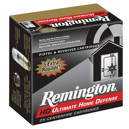 Remington Ultimate Home Defense 380 ACP Auto Ammo 102 Gr Brass JHP